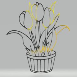c1.png Download STL file wall decor tulips ina vase • 3D printer model, satis3d