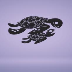 C1.png Télécharger fichier STL décoration murale tortue et bébé • Objet pour imprimante 3D, satis3d