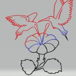 Télécharger fichier STL décoration murale fleur de colibri, satis3d