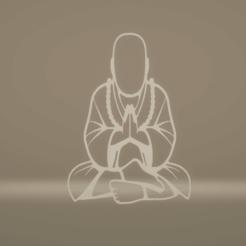 c1.png Download STL file wall decor buddha meditating • 3D printer template, satis3d