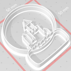c1.png Download STL file cookie cutter stamp Christmas snowball with houses • 3D printable template, satis3d