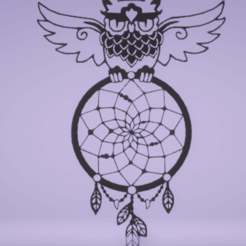 Download 3D printing templates wall decor dreamcatcher with owl, satis3d
