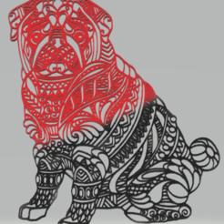pug.png Download STL file wall decor pug • 3D printable template, satis3d