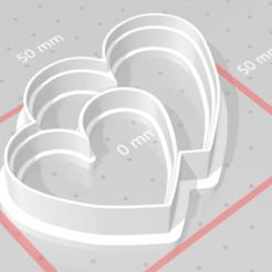 Imprimir en 3D sello del cortador de galletas 2 corazones, satis3d