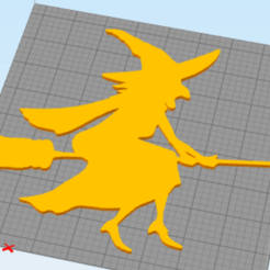 Download free 3D printing templates wall decor witch, satis3d
