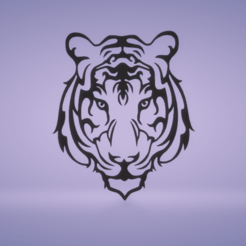 c1.png Download STL file wall decor tiger face • 3D printer template, satis3d