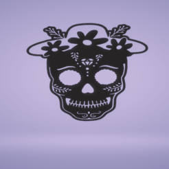 c1.png Download STL file wall decor skull - day of the dead • 3D printer template, satis3d