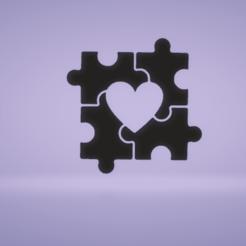 c2.png Download STL file wall decor heart puzzle • 3D printing design, satis3d