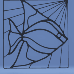 Imprimir en 3D decoración de pared vitral de peces, satis3d