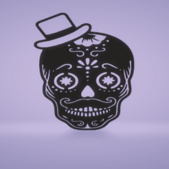 c1.png Download STL file wall decor skull- day of the dead • Object to 3D print, satis3d
