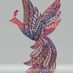 Télécharger modèle 3D décor mural paon, satis3d
