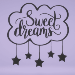 Download STL wall decor sweet dreams, satis3d
