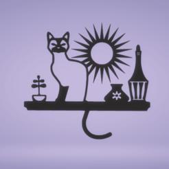 c1.png Télécharger fichier STL décoration murale chat dans une étagère • Objet pour imprimante 3D, satis3d