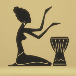 Download 3D printing designs wall decor african women with drum, satis3d