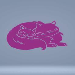 c1.png Télécharger fichier STL décoration murale chat avec bébé • Modèle pour impression 3D, satis3d