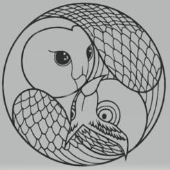 c1.png Download STL file wall decor owl  yin yang • 3D printing model, satis3d