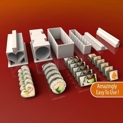 Sushi-Press4_display_large.jpg Download free STL file Sushi Maker Set • Model to 3D print, Balkhnarb