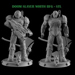 TITLE.jpg Download STL file DOOM SLAYER  WHITH BGF • 3D print template, freeclimbingbo