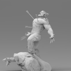 2132.jpg Download STL file Wolverine statue • Design to 3D print, freeclimbingbo