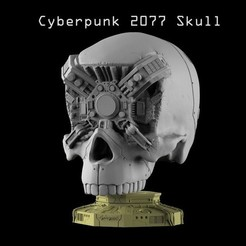 Title1.jpg Download STL file CYBER SKULL (CYBERPUNK 2077) • Model to 3D print, freeclimbingbo