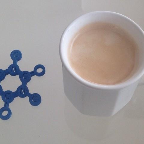 15_-_2_display_large.jpg Télécharger fichier STL gratuit Voici la molécule de caféine, vous pouvez l'utiliser comme set de table pour une tasse à café. • Plan pour impression 3D, Tramgonce
