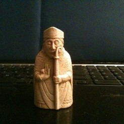 Bishop_front_display_large.jpg Download free STL file Lewis Chessmen - Bishop • 3D printing template, Tramgonce