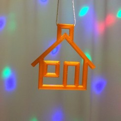 Free STL file House to hang on your Christmas Tree., Tramgonce