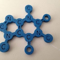 Free 3D print files This is the caffeine molecule, you can use it as a coffee mug placemat, Tramgonce