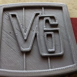 V6badge.jpg Download OBJ file V6 Badge Emblem Jeepster Commando CJ5 CJ6 Jeep • 3D print template, DarkMavrik
