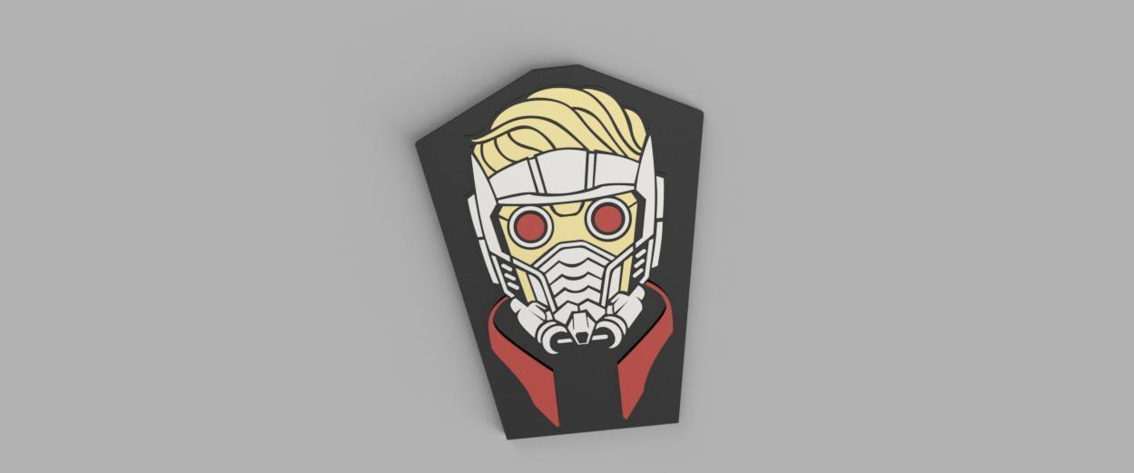 RENDERCOLOR.jpg Download free STL file Star-Lord Badge • 3D print object, 3Dimpact