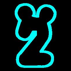 Modelos 3D para imprimir Numero 2 Mickey cookies cutter, avmbue