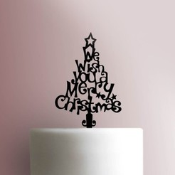 Christmas-Tree-Cake-Topper-100_00000.jpg Download STL file Merry christmas cake topper • 3D printing design, Cookiecutters13
