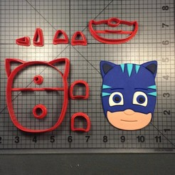Download 3D printing templates Cutter cookie cutter PJ Mask Per Parts 3 characters, Cookiecutters13