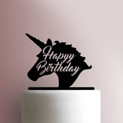 }.jpg Download STL file Unicorn happy birthday cake topper • 3D printable template, Cookiecutters13