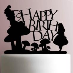 Download STL file Cake Topper Alice In Wonderland, Cookiecutters13