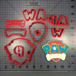 Descargar diseños 3D Paw Patroll logo cookie cutter cortante de galletita patrulla canina, Cookiecutters13