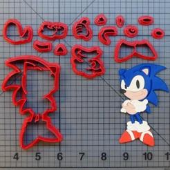 Descargar diseños 3D Cookie cutter sonic cuerpo completo cortante de galletitas, Cookiecutters13