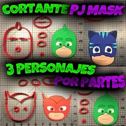 Download STL file Cookie Cutter PJ Mask By Parts 3 characters • 3D printable model, Cookiecutters13