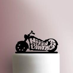 Motorcycle-Happy-Birthday-Cake-Topper-100_00000.jpg Download STL file Motorcycle cake topper • 3D printer template, Cookiecutters13
