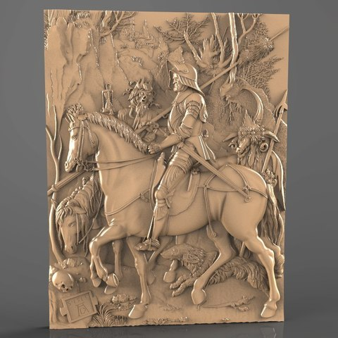 Télécharger fichier imprimante 3D gratuit chevalier soldat sur son crâne de cheval cnc, 3Dprintablefile