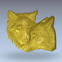 Download free 3D printing templates two wolves wolf, 3Dprintablefile