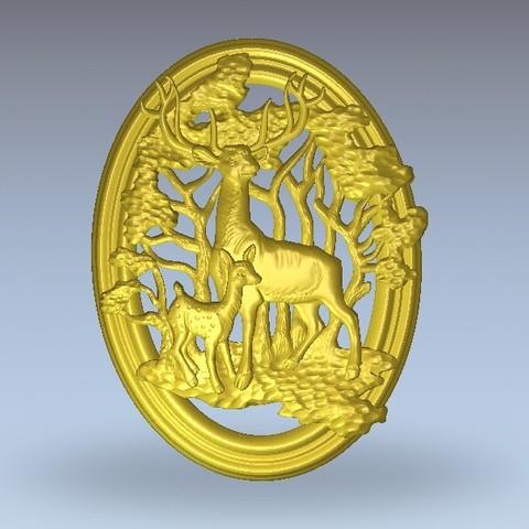 Download free 3D printer designs Deer and baby in forrest, 3Dprintablefile
