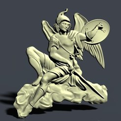 Download free 3D printer designs honor man warrior on a cloud, 3Dprintablefile