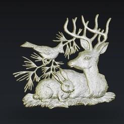 Descargar archivos 3D gratis Venado y su bebé en el bosque descansando, 3Dprintablefile