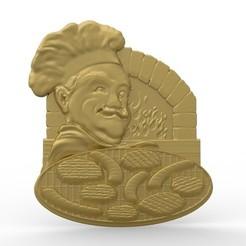 Télécharger modèle 3D gratuit logo du chef cuisinier de restaurant logo pizza au feu de bifteck, 3Dprintablefile