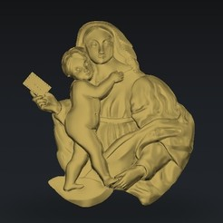 Free 3D printer model marry virgin and her baby, 3Dprintablefile