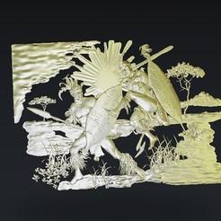Descargar Modelos 3D para imprimir gratis Guerreros luchando, 3Dprintablefile