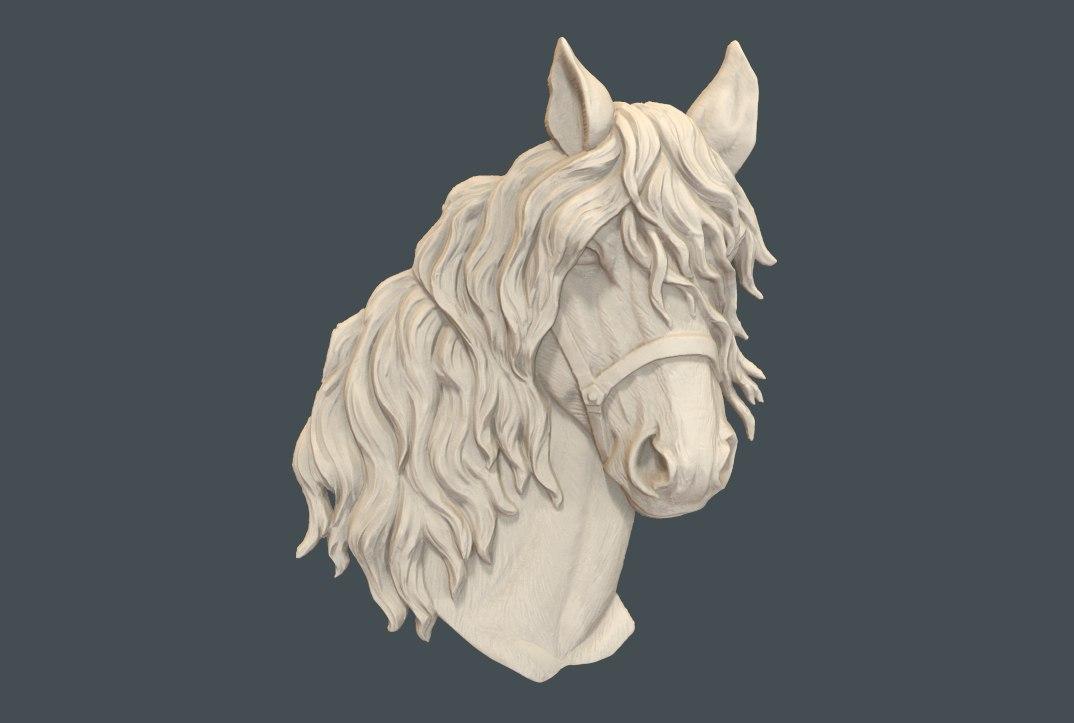 golova_konya.jpg Télécharger fichier STL gratuit Buste tête de cheval cnc • Objet pour imprimante 3D, 3Dprintablefile