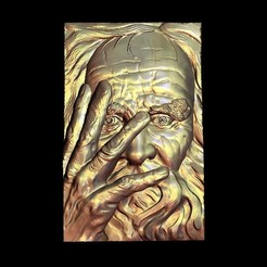 Download free 3D printer files Old man hand on his face, 3Dprintablefile