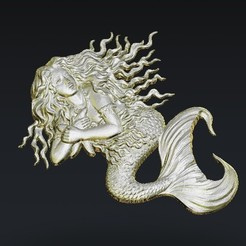 Free 3D printer designs mermaid, 3Dprintablefile